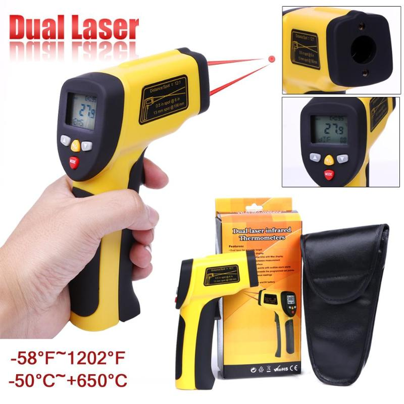 High Precision Digital Thermometer Double Laser Infrared Thermometer Non-Contact IR Pyrometer LCD Temperature Meter Gun Point цена