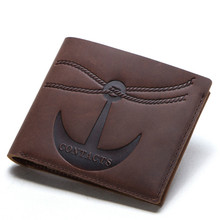 Classic Style Vintage luxury100% Wallet Genuine Leather Men Wallets Short Male Purse Card Holder Wallet Men Fashion High Quality недорого