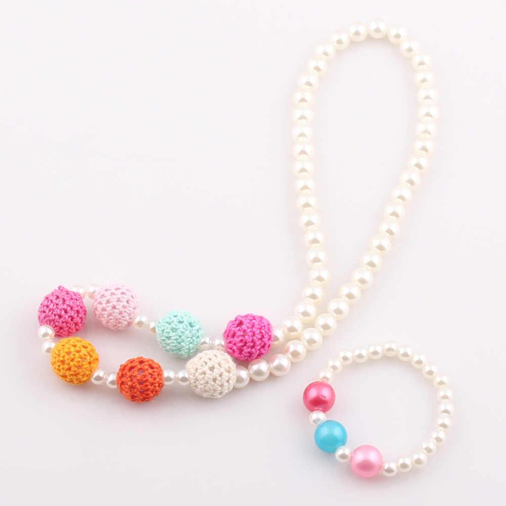 2018 New Hot Sale Handmade Crochet Knitting Wool Ball Beads Children Necklace Bracelet Kids Baby Necklace Jewelry set ST73