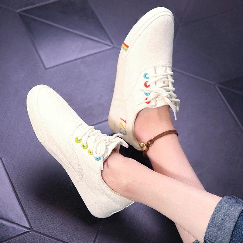 white Rond Sneakers Couleurs Chaussures Style Femelle Bout 123 Casual Mélangées De Femmes Toile À Plat Black Coudre Up Mode Lace B4w0Hp