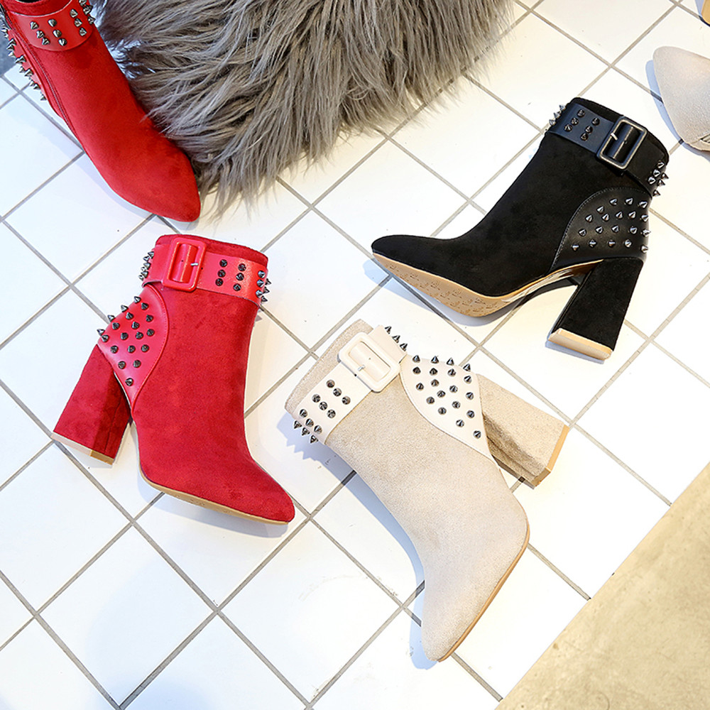 SHOP RED BLACK BEIGE Warm Fur Plush Insole High Quality Ankle Boots