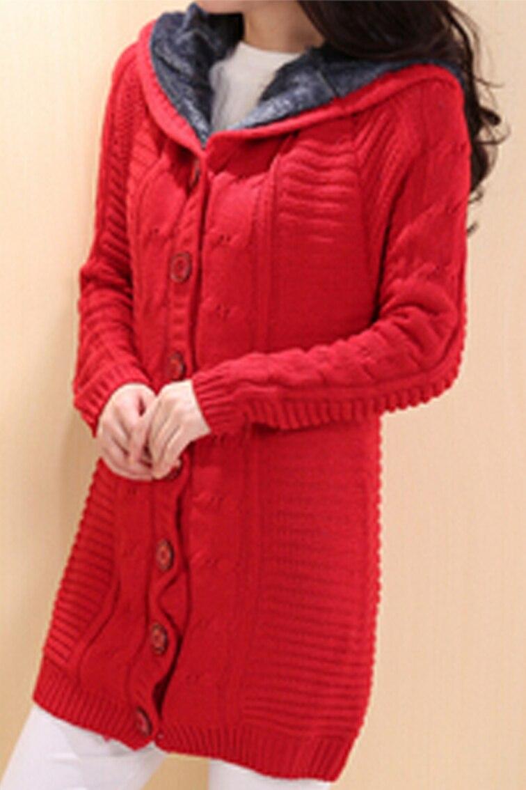 Fashion Winter Womens Cardigan Knit Mid-long Sweaters Jacket Beige Khaki Bean Green Blue Red