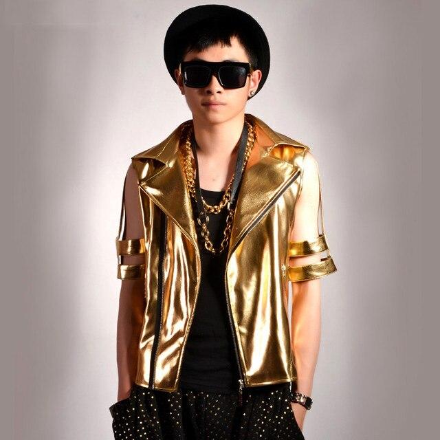 Золото полые половины рукавами мужская кожаная куртка мотоцикла мужчины stage производительность одежда ночные клубы улица хип-хоп панк куртка K607