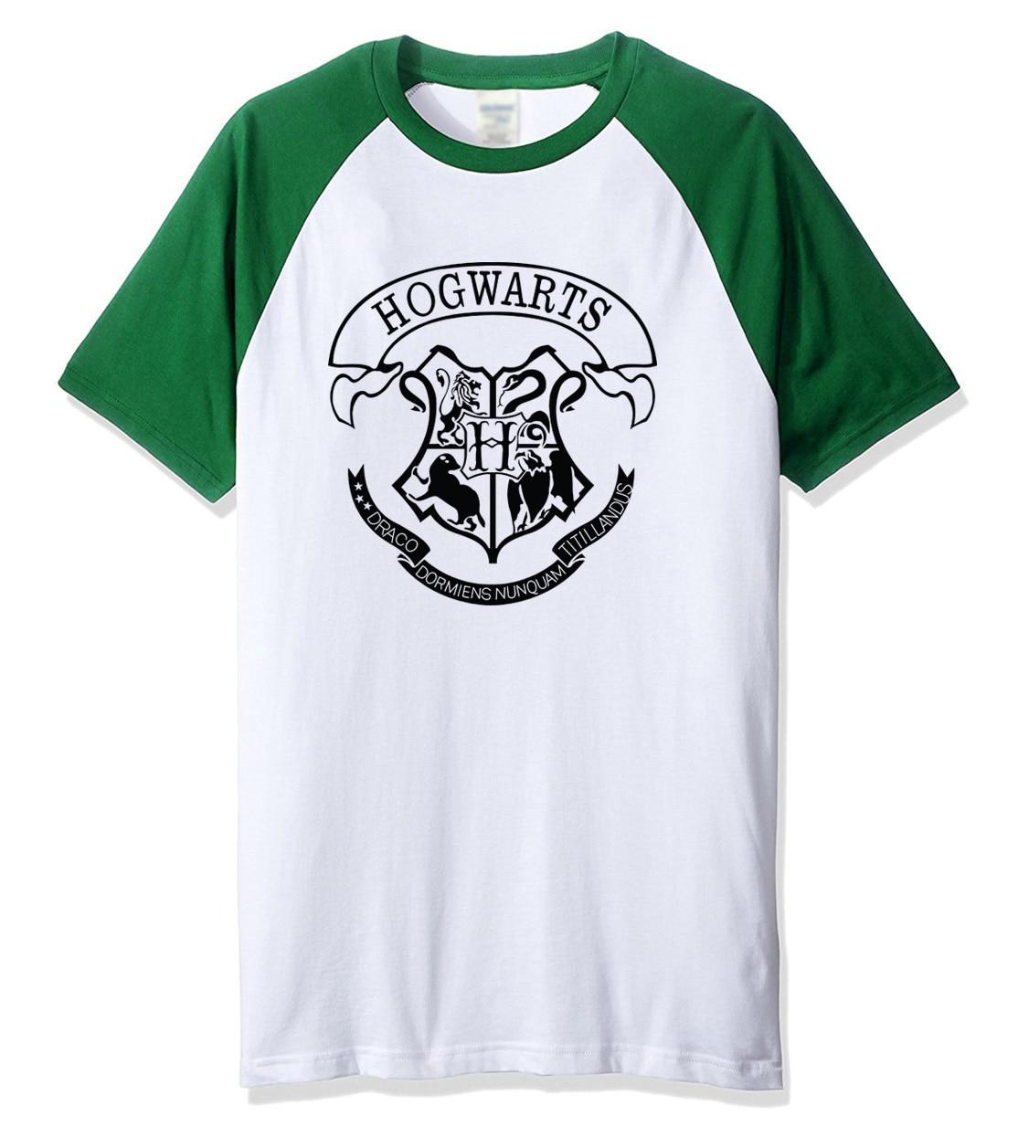 2019 summer t shirt men short sleeve cotton O-neck funny t shirts Hogwarts letter print men's sportswear raglan t-shirt tops tee