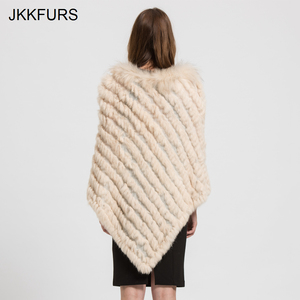 Image 4 - 2019 Womens Poncho Real Rabbit Fur Knitted Shawl Raccoon Fur Collar Top Quality Large Cape Fashion Style S1729