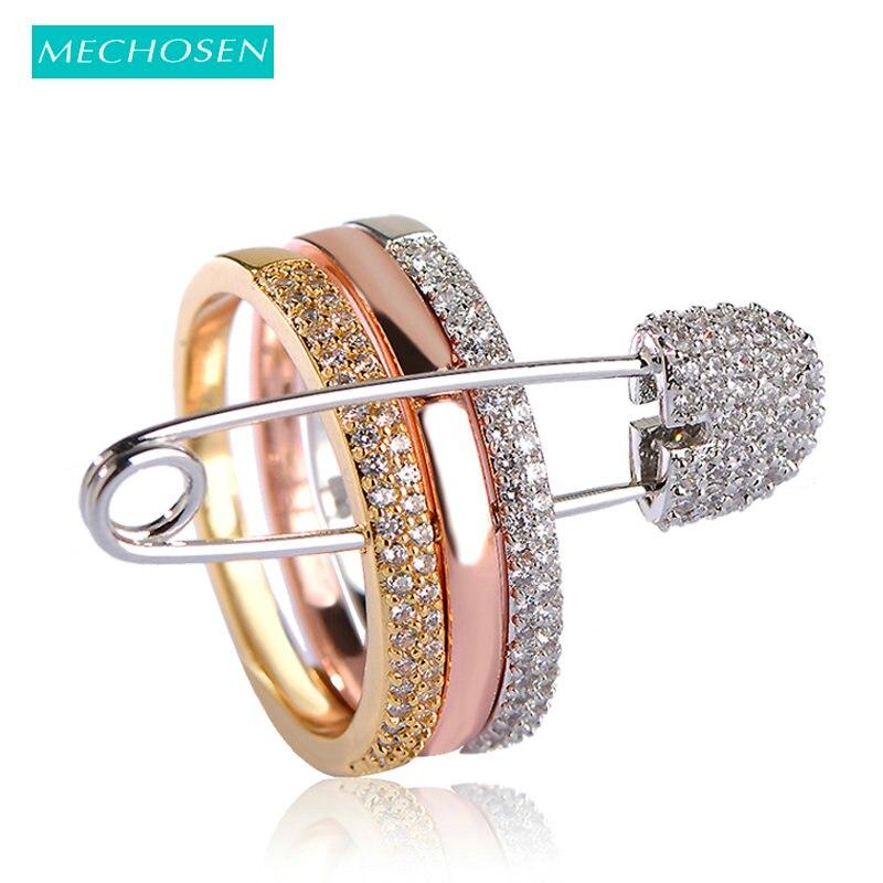 Mechoisi couleur or Rose trois bagues avec épingles pour femmes 3 couleurs pavé cubique zircone pierres bijoux gothique Punk Anillos