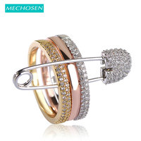 MECHOSEN Rose Gold Color Three Finger Rings With Pins For Women 3 Colors Paved Cubic Zirconia