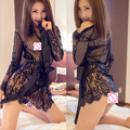 New Womans Temptation Sheer Lace Trimmed Robe  Transparent Eyelash Lace Nightgown Sexy Lingerie Sexy Bathrobe Hot Sleepwear-236