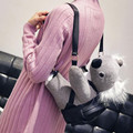 Fashion Kawaii Plush Koala Backpack for Teenage Girls Black PU Leather Animal Bagback Funny Mochila Feminina sac a main Q089