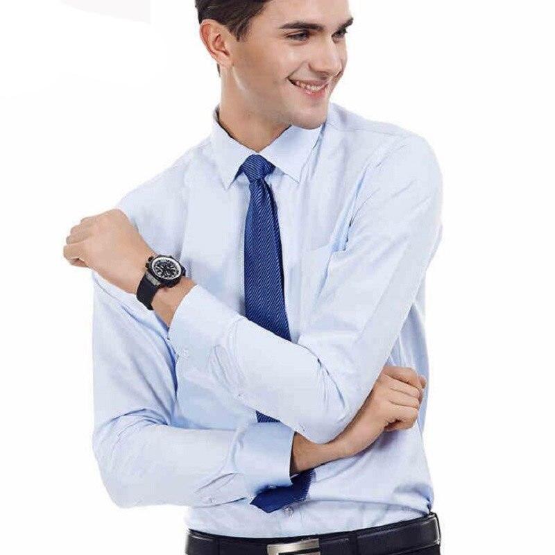새로운 여름 남자 드레스 셔츠 정장 패션 긴 소매 비즈니스 남성 캐주얼 셔츠 슬림 맞는 작업 셔츠 남성용