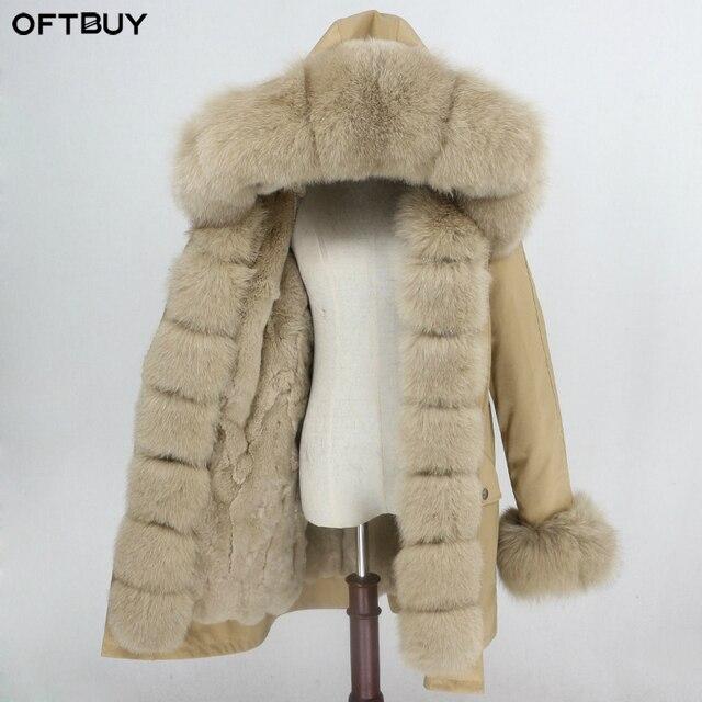 Oftbuy 방수 파카 롱 리얼 모피 코트 천연 너구리 여우 모피 칼라 후드 토끼 모피 라이너 두꺼운 따뜻한 겉옷 streetwear