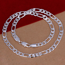 2015 new arrived 925 sterling silver jewelry 8mm 20 inch men's Figaro cub chains necklace for men's fine jewerly wholesale