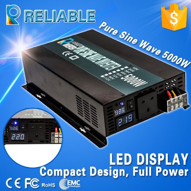 Free Shipping!10000W Peak DC AC Converter LED Display 5000W Off Grid Pure Sine Wave Solar Power Inverter Household Power Supply