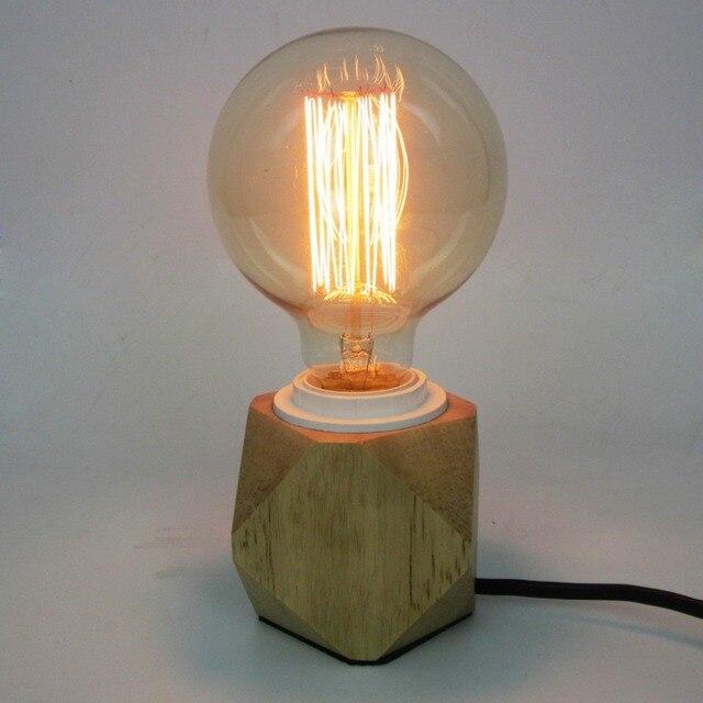Americain Retro Vintage Lampe De Table En Bois Creative Buble