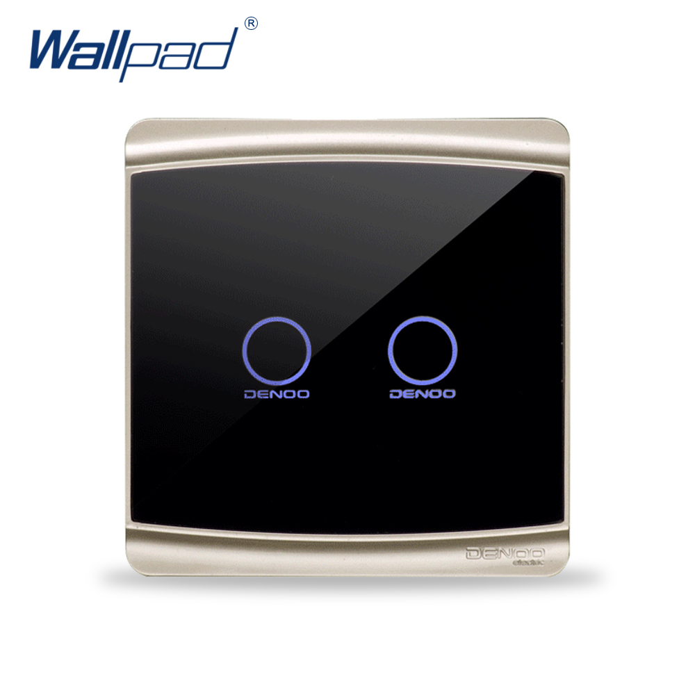 Free Shipping Wallpad Luxury Black Crystal Glass Switch Panel Touch Screen Wall Light Switch LED Indicator 2 Gang 1 Way smart home us au wall touch switch white crystal glass panel 1 gang 1 way power light wall touch switch used for led waterproof