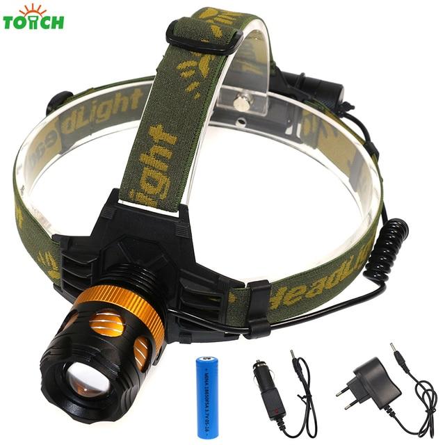 High powerful headlamp cree xml t6 headlight zoom head flashlight camping head light for outdoor lighting+18650 battery&charger