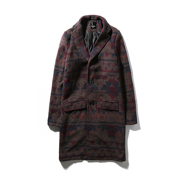 2c4ed107903 New 2016 winter chinese style vintage print dark red single breasted long  wool trench coat men