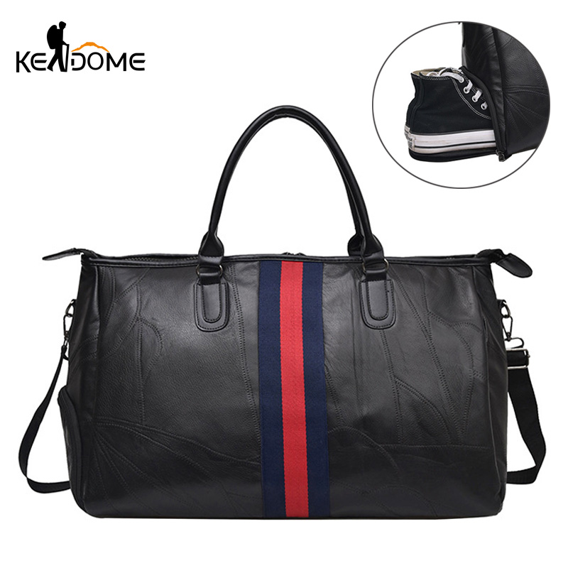 10279642d0 PU Leather Gym Bag for Men Women Sport Shoes Bag Fitness Over the Shoulder  Large Capacity