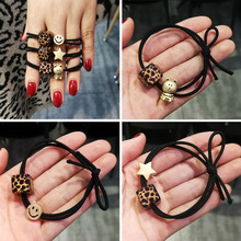 Korean simple small fresh personality acrylic hair rope leopard pattern square balls smiling face elastic O2