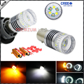 Canbus Error Free 1157 2057 2357 7528 Dual-Color White/Amber Switchback LED Bulbs For Front Turn Signal + Load Resistor Combo