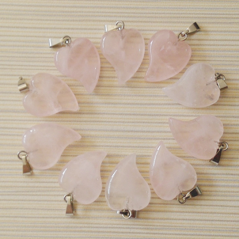2018 Fashion Natural Pink Crystal Stone Bend Heart Pendants Charms Fit Jewelry Making Good Quality Wholesale 50pcs/lot  Free