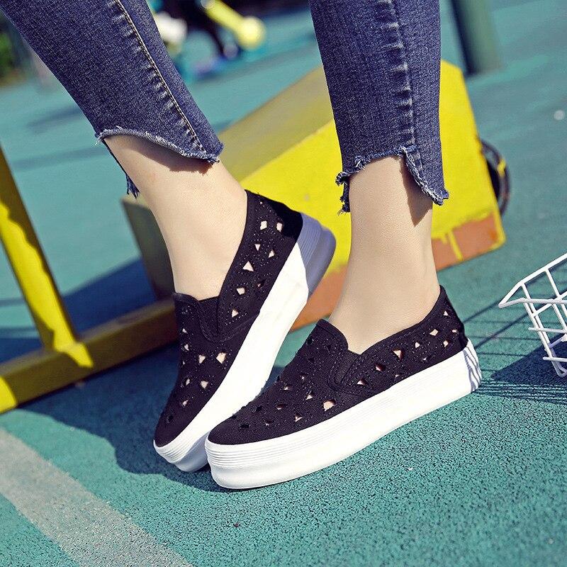 Vulcaniser Et Amateurs Noir Femmes Automne Femme Printemps Plate Sohes Occasionnels Chaussures blanc De Appartements Sneakers forme Toile Mocassins qaf86Ex