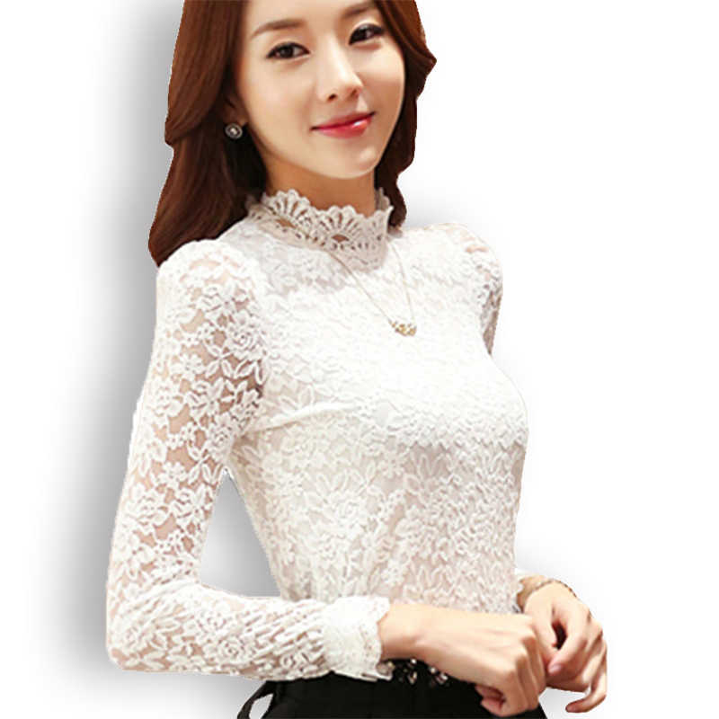 Floral Lace Blouse Women Sexy Plus Size Long Sleeve Crochet Elegant Womens Blouses And Shirts White Black Tops Blusas Femininas