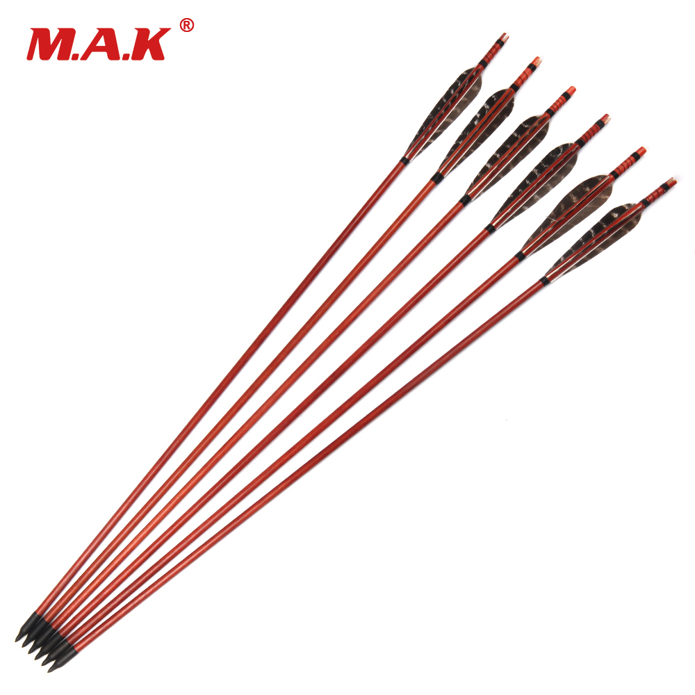 6/12/24 pcs Red Wooden Arrows 80cm Black Turkey Feather for 20-70 Lbs Compound Bow Archery Hunting Shooting