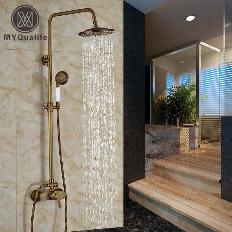 Single Handle Brass Rainfall Shower Faucet Mixer Tap Wall Mount with Handshower Sprayer Antique Brass Finish