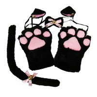 1 Set 2017 New Anime Cosplay Costume Cat Ears Plush Paw Claw Gloves Tail Cute Sexy Women Party Christmas Halloween Decor