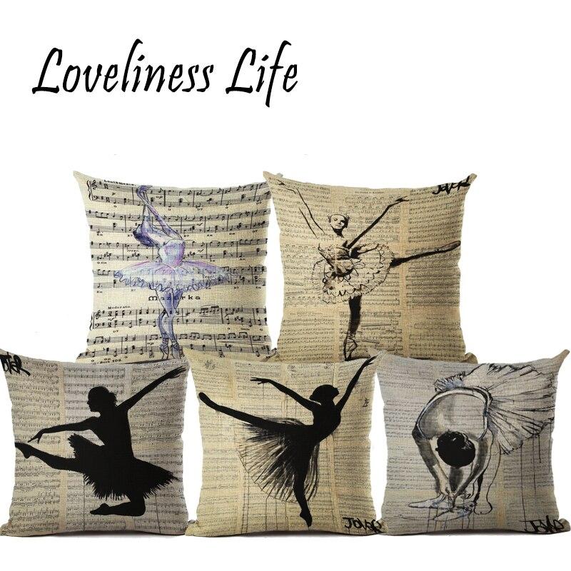 Newspaper Dancer Vintage Style Decorative Throw Pillows Nude Woman Art Cotton Linen Cushion Cover Girl Sofa Home Almofadas