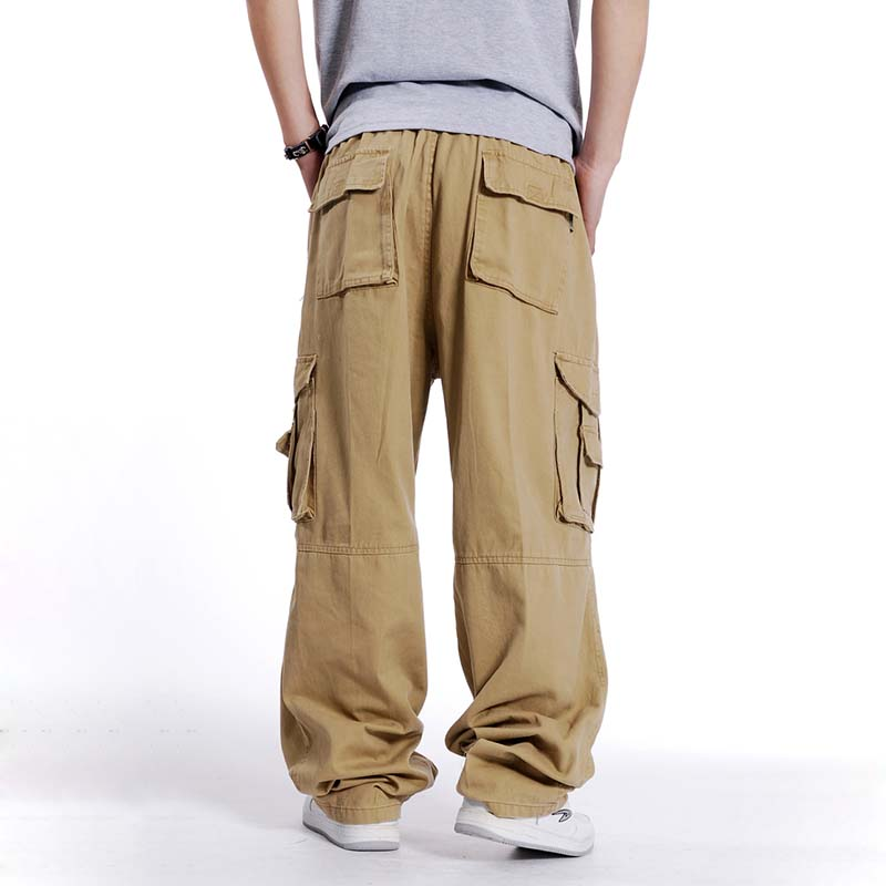 Big Size Men Hip Hop Cargo Pants Cotton Loose Baggy Army Trousers Wide Leg Military Tactical Pants Casual Streetwear Joggers