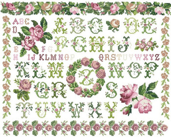 14/16/18/27/28 Top Quality lovely beautiful counted cross stitch kit rose peony wreath flower alphabet lit ABC image