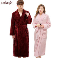 Fdfklak Hot Sale Lovers Flannel Warm Long Bathrobe Women Dressing Gown Bride Kimono Bath Robe Femme Plus Size Bath Robes Q578