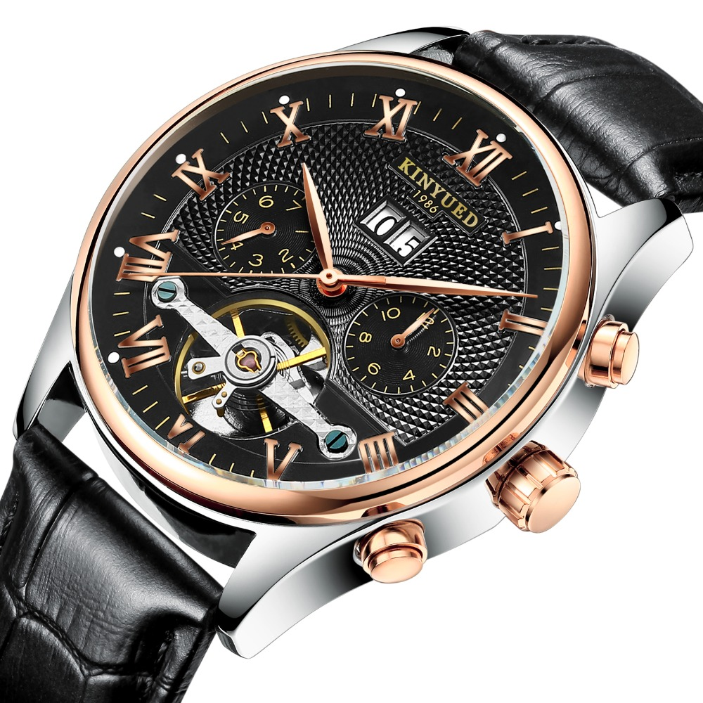 KINYUED Skeleton Tourbillon Mechanical Watch Men Automatic Classic Rose Gold Leather Mechanical Wrist Watches Reloj Hombre 2018KINYUED Skeleton Tourbillon Mechanical Watch Men Automatic Classic Rose Gold Leather Mechanical Wrist Watches Reloj Hombre 2018
