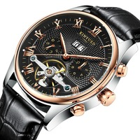 KINYUED Skeleton Tourbillon Mechanical Watch Men Automatic Classic Rose Gold Leather Mechanical Wrist Watches Reloj Hombre 2018