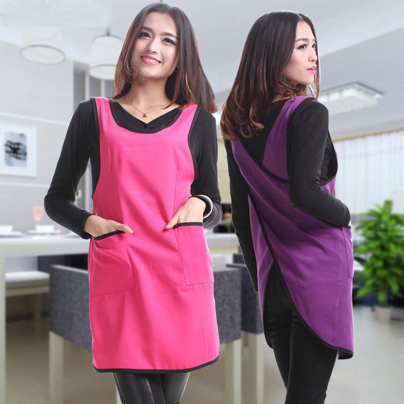 Sleeveless Apron Waterproof Dirt High Quality Korean Work Clothes Kitchen Apron With Pocket Vest Women Apron ...