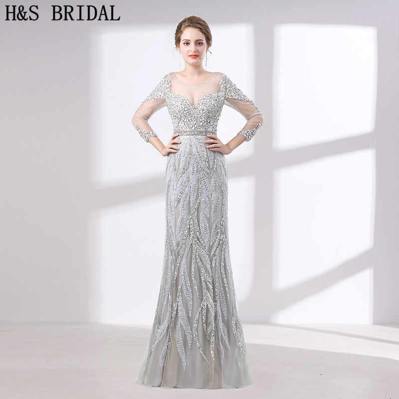 f11b958eab7 H   S Люкс вечернее платье три четверти рукава Кристалл Бисер вечернее  платье es с камнями