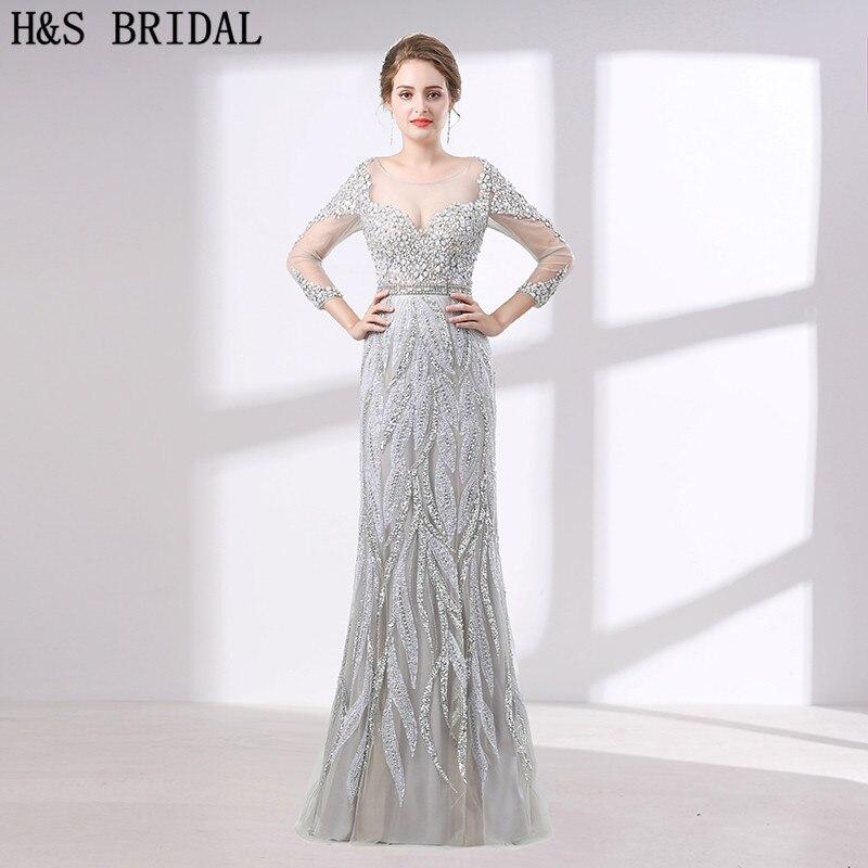 H&S BRIDAL luxury evening dress Three Quarter Sleeve Crystal Beading ...
