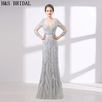 H S BRIDAL Luxury Evening Dress Three Quarter Sleeve Crystal Beading Evening Dresses With Stones Long