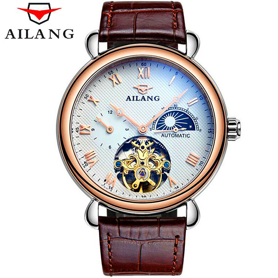 Top Brand Automatic Mechanical Watch Men Skeleton Steampunk Leather Watches Luxury Tourbillon Waterproof Wristwatch Roman Dial qmn women genuine leather platform flats women cow leather oxfords retro square toe brogue shoes woman leather flats creepers