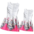 2016 Mom and Daughter Dress Family Matching Clothes for Summer Family Look Girl and Mother Dress Sleeveless Printed Girls Dress
