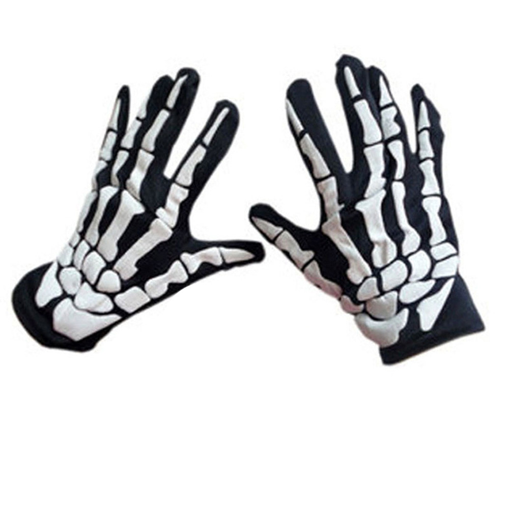 1/2pair Halloween Horror Skull Claw Bone Skeleton Goth Racing Full Gloves Soft Lining Material Vents Sweat-wicking Gloves