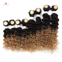 Golden Beauty 8 14inch Deep Wave Sew In Hair Extensions Synthetic Hair Weave 8pcs Pack For