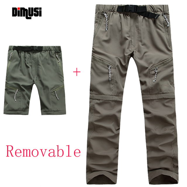 DIMUSI 2017 Summer Men Removable Quick Dry Pants Male Breathable Thin Trousers Causal Outwaer Army Joggers Mens Clothing,YA574