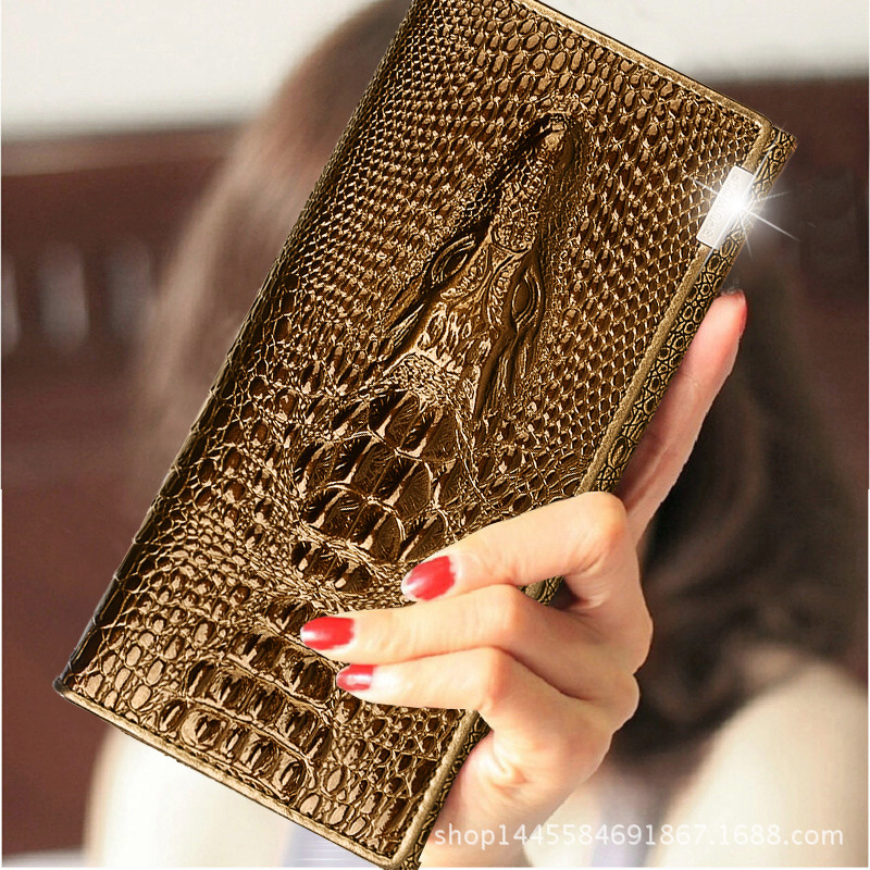 European and American women's purse female long multifunctional crocodile pattern true wallet fashion women's cowhide wallet handbag 2018 new wallet european and american fashion eighty percent off ladies long wallet