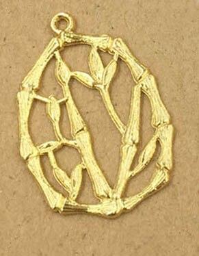 Ретро металлическая филигрань бамбуковые Подвески ремесла для женщин Эффектные серьги Висячие на Висячие серьги подвеска для изготовления ожерелья - Цвет: gold color