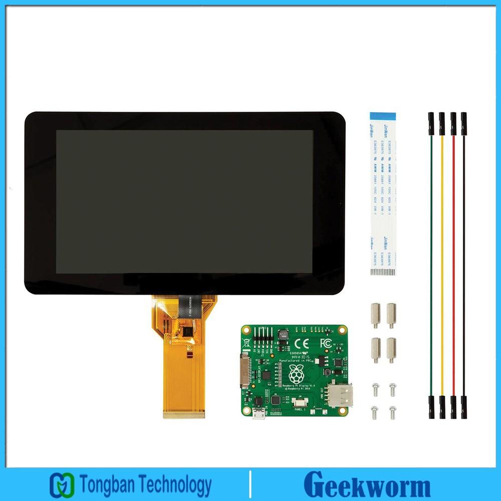Prix pour Officielle originale Raspberry Pi 7 Pouce TFT LCD Tactile Écran Bouclier D'affichage du Moniteur + Acrylique Base Titulaire/Stander Kit