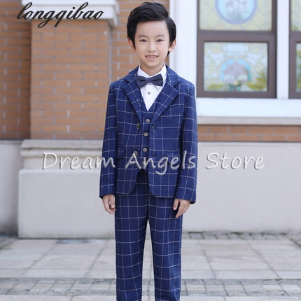 Hot 2017 Top Quality Boys Blue Blazer 5 pcs/set Wedding Suits for Boy Formal Dress Suit Prom Suits Toddler Boys Blazers 2016 new arrival fashion baby boys kids blazers boy suit for weddings prom formal wine red white dress wedding boy suits