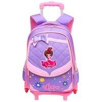 Children Trolley School Bag Wheeled School Bag Grils Kids cat printing School trolley Backpacks Bags Travel Luggage Backpack